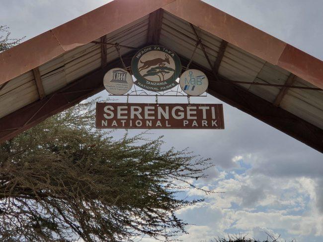 שער הכניסה לשמורת ה- Serengeti באפריקה